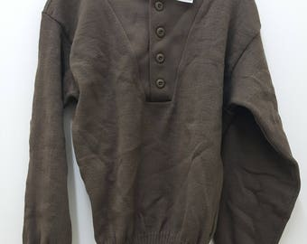 Military Issued Brown 5-Button Sweater-NEW-Large