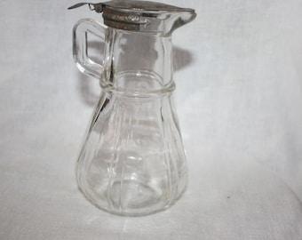 Vintage 1915 1916 Hazel Atlas Glass Syrup or Creamer Dispenser Rounded Bottom