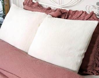 Linen off white pillow sham- softened linen pillows- Housewife, standard, queen, king size housewife pillow- Antique white pillow