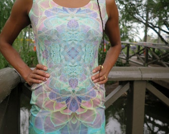 SUCCULENCE Bodycon Dress, succulent mini dress, trippy mini dress, psychedelic dress, pastel mandala, festival dress, succulent dress