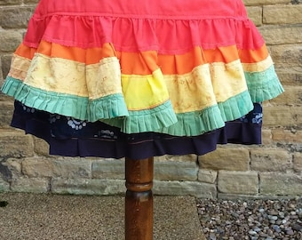 Rainbow ruffle bustle, festival hip skirt, gay pride layered overskirt, Tribal belly dance costume, Repurposed eco clothing, Gift for her