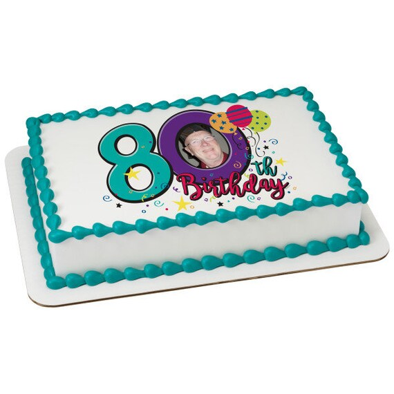Happy 80th Birthday - Edible Cake and Cupcake Photo Frame For Birthdays and Parties! - D24117