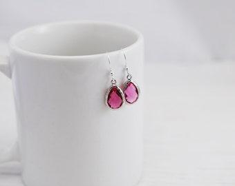 Pink Crystal Earrings, Teardrop Earrings, Hot Pink Earrings, Pink Earrings, Silver Earrings, Crystal Earrings, Gift for Her, Drop Earrings