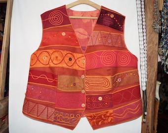 Orange waistcoat,maroon emroidered waistcoat,bohemian waistcoat,festival waistcoat,hungarian folk waistcoat,hippie waistcoat, boho waistcoat