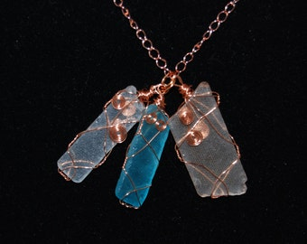 NECKLACE - Home by the Sea - wire wrapped beach glass necklace (colors may vary)
