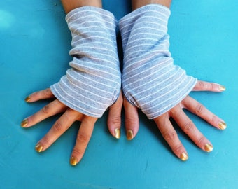 "Fingerless mittens "" White Stripes on Grey background"