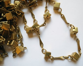 2 feet Vintage raw brass chain rare style with box cube link