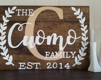 Custom Family Name with Est date laurel wreaths wood sign wedding sign anniversary sign