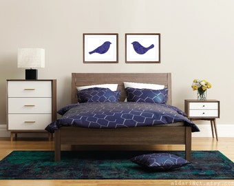 Spring Birds Couple Art Print - Modern Birds Wall Art - Set of 2 - Wedding Gift - Master Bedroom Decor - His and Hers - Blueberry Navy Blue