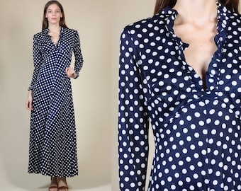 70s Polka Dot V Neck Dress - Small/Medium // Vintage Navy Blue Ruffle Collar Long Sleeve Maxi