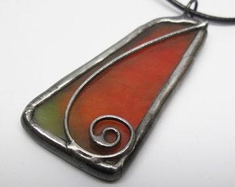 Apple Peel - Stained Glass Pendant
