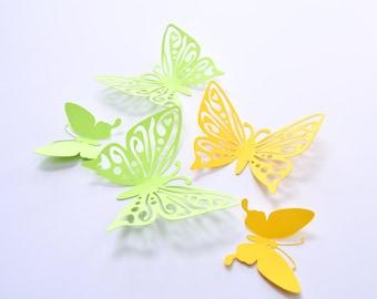 3D Wall Sticker Butterfly, Green Yellow Butterfly Art Wall, Decorating Butterflies, Butterfly 3D Art, Wall Paper Butterflies