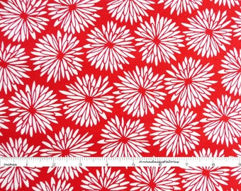 Tomato Red Floral Fabric, Red Rooster Fabrics Cucina Fresco 24481, Red & White Floral Quilt Fabric, Flowers, Anna Fishkin, Cotton