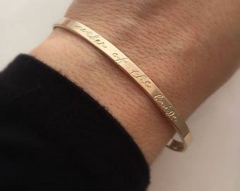 Mother of the Bride Gift - Mother of the Bride Bracelet - Wedding party presents - Gift for her - Gift for Mom - Gold cuff bracelet