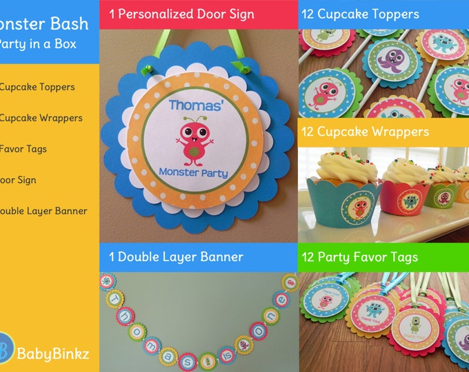Monster Bash Party in a Box - Cute Monster Party Decorations Party Package Set blue green red yellow primary colors