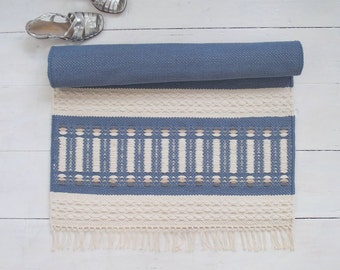 Blue and Ivory Rug, Small Cotton Rug, Flatweave Rug, Kitchen Rug, Nursery Rug, Reversible, Handmade on the Loom, Made to Order