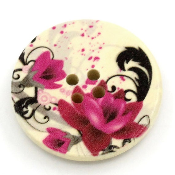 BBR30277 - 6 round buttons with colorful wooden 30 mm