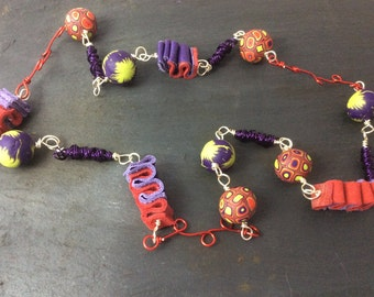 Multi coloured necklace - mixed media necklace