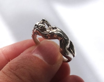 Silver Erotic Nudity Ring, Silver Erotic Jewelry, Female Nudity Ring, Naked Woman, Naked Girl Ring, Naked Lady Jewelry, Unique Adult Jewelry