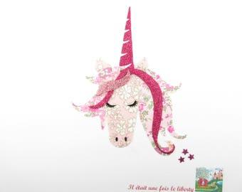 Applied fusible nude pink Capel liberty fabric Unicorn head Tatum fabric pink glittery Unicorn liberty fusible applique