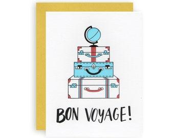 Bon Voyage - Letterpress Greeting Card
