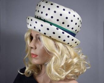 Mod Vintage 60s Black & White Polka Dot Hat with Ribbon Bow