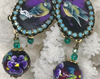 Lilygrace Sweet Bird Cameo Earrings with Vintage Rhinestones and Handpainted Beads