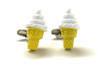 Ice Cream Cufflinks Soft Serve Ice Cream Cone on a Summer Day 3D Foody Cuff Links