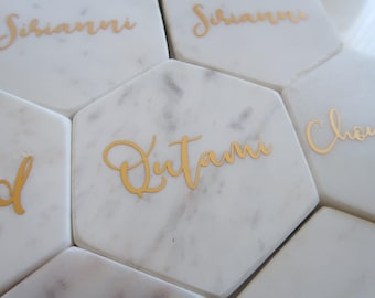Custom marble hexagon PLACE CARD COASTERS, personalised, wedding, engagement, bridal party, bridesmaids, vinyl, gifts, bonbonniere, favour
