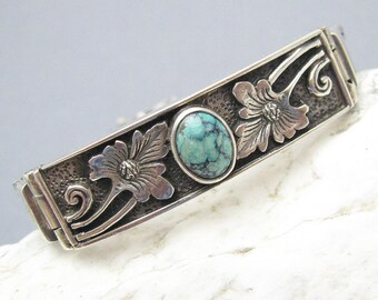 Sterling Turquoise Bracelet Wheat Chain Vintage Jewelry