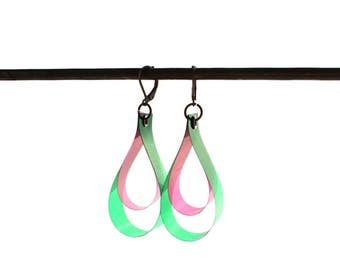 SALE 25% OFF! Drop Earrings, Color Key,  Green & Pink, Watermelon, Colorful Earrings, Unique Gifts For Her Out Of The Ordinary Boho Under 20