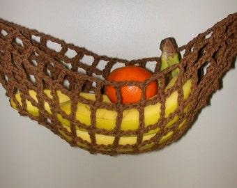 Banana Hammock, Fruit Hanger, Holder, Net, Yacht Galley Storage, Brown