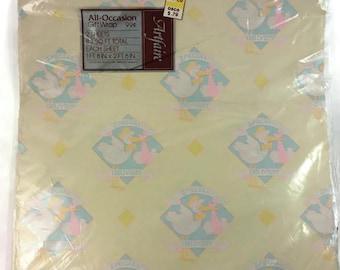 Vintage Sealed Artfair All Occasion Gift Wrap, Special Delivery Stork Baby Shower Wrapping Paper, 2 Sheets, 8.3 Sq Ft  Made in USA Paper
