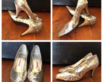 Vintage 80s gold sequin covered pointed toe sparkle heels pumps sz 6 1/2 B