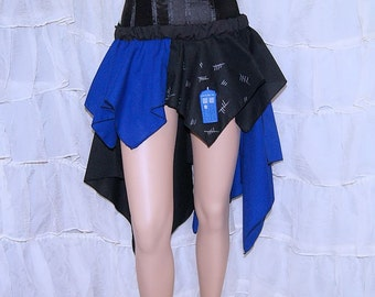Doctor Blue Police Box Silence Bustle Flare Cosplay Skirt Adult ALL Sizes - MTCoffinz