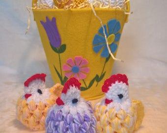 SET OF 3 Easter crochet hen/Chicken egg decoration/Egg cover
