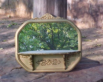 Vintage Wooden Shelf with Mirror, Gold Painted Ornate Wall Shelf, 1930's Shabby Cottage Decor