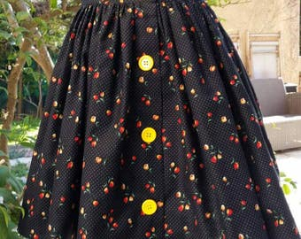 Retro-style Gathered Skirt