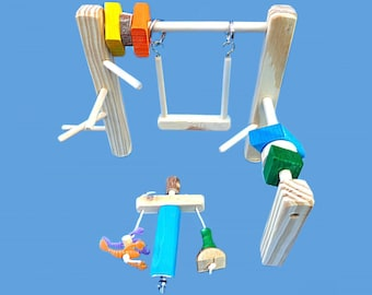 Bird play gym set-with swing,toys,& little guy ,cage top bird stand