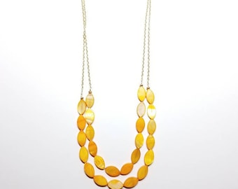 Chain and Yellow Shell Necklace