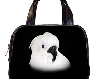 Chic Umbrella Cockatoo 2-Sided Parrot Handbag Purse Ladies Bag Leather