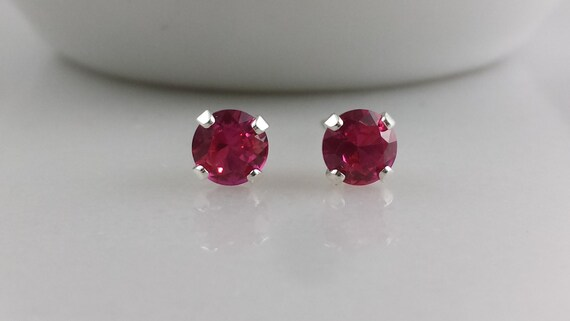 Sterling Silver Lab Ruby Gemstone Stud Earrings - July Birthstone Earrings- 5mm Lab Created Ruby Studs