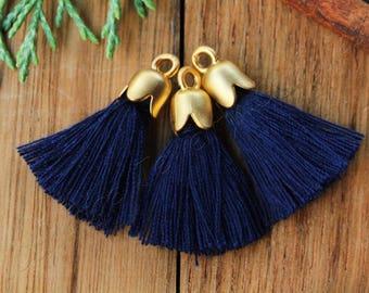 5pcs Mini Tassel, Gold Tulip Cap Tassel, 2.5cm Cotton Tassel, Gold Plated Cap Tassel Charm, Tassel Pendant, Boho Tassel, Navy Blue / #39