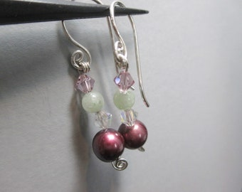 Purple Cultured Pearl Earrings with Jadeite and Swarovski Crystal Accents Sterling Silver