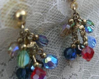 Multi Color beaded Crystal post earrings