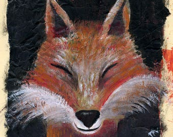 Fox - Volpe - print from original painting - on paper 20x 26,5 cm.- around A4 format