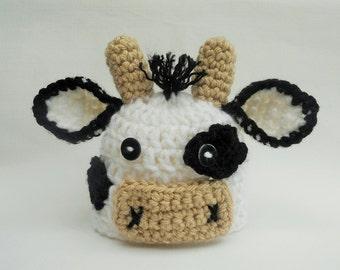 Newborn Cow Hat - Baby Cow Hat - Newborn Photo Prop - Farm Hat - Crochet cow hat - CUSTOM UK SELLER - Baby Cow Costume