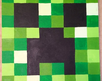 Minecraft creeper video game painting 12x12 Made to order