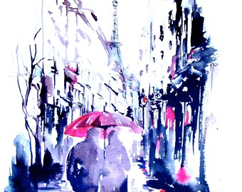 Parisian Love Print from Original Watercolor - Travel Illustration - Modern Painting Rainy Paris for Two