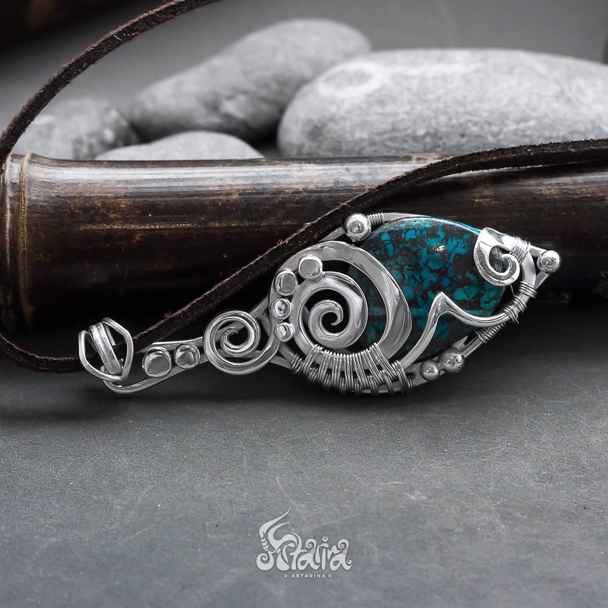 Azurite silver pendant // Blue azurite wire wrapped sterling